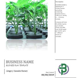 Cannabis Clones/Seeds Nursery Business Plan Template
