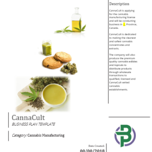Cannabis Extraction Manufacturing Business Plan Template