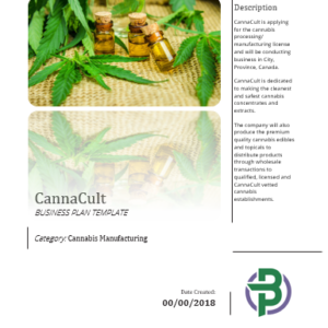Cannabis Manufacturing Business Plan Template (third parties extracts)