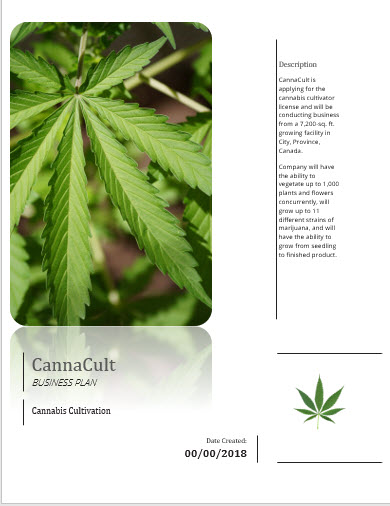 Cannabis Cultivation Manufacturing Retail Business Plan Template