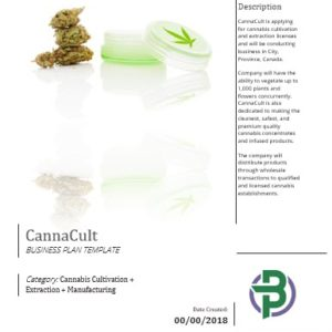 Cannabis Cultivation + Extraction + Manufacturing Business Plan Template
