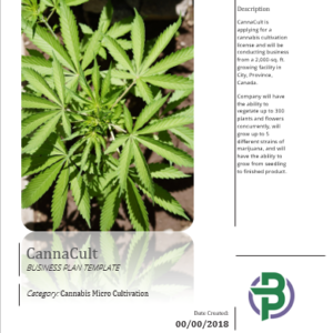 Cannabis Micro Cultivation Business Plan Template