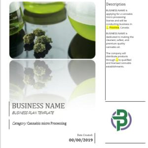 Cannabis micro Processing Business Plan Template