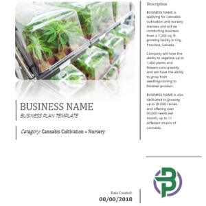 Cannabis Cultivation + Nursery Business Plan Template