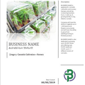 Cannabis Cultivation + Nursery Business Plan Template